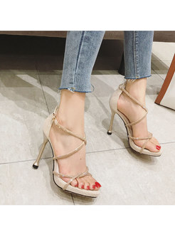 Rhinestone All-matched Buckle Thin Heel Sandals