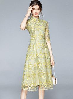Mandarin Collar Openwork Lace Midi Dress