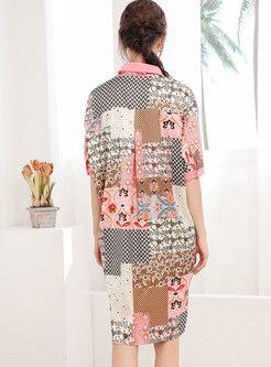 Lapel Print Loose Knee-length Shift Dress