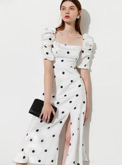 Square Neck Puff Sleeve Polka Dot Midi Dress