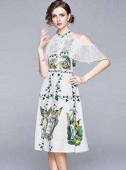 Mock Neck Cold Shoulder Print A Line Midi Dress