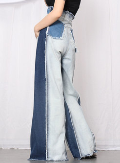 Color-blocked High Waisted Denim Patchwork Palazzo Pants