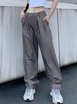 Grey High Waisted Striped Long Wide Leg Pants