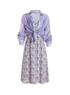 Purple Floral V-neck Slip Dress & Chiffon Blouse