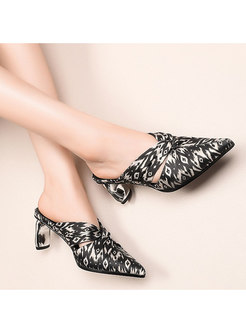 Pointed Toe Print Chunky Heel Slippers