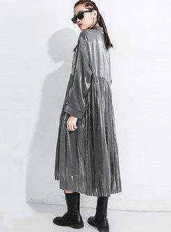 Long Sleeve Loose Shift Pleated Shirt Dress
