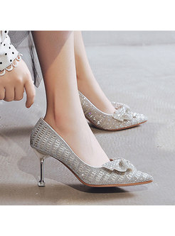 Pointed Toe Rhinestone Bowknot Thin Heel Shoes