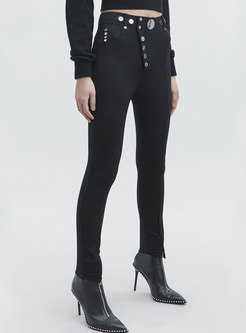 Black High Waisted Slim Pencil Pants With Buttons