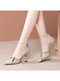 Color-blocked Pointed Toe Buckle High Heel Shoes