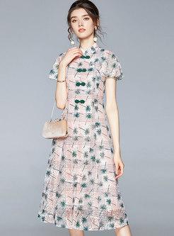 Mandarin Collar Print A Line Openwork Midi Lace Dress