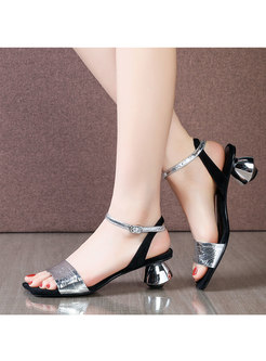 Sliver Square Toe Buckle Chunky Heel Sandals