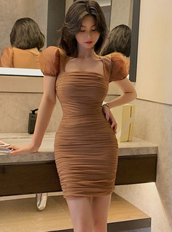 Sexy Square Neck Puff Sleeve Bodycon Mini Dress