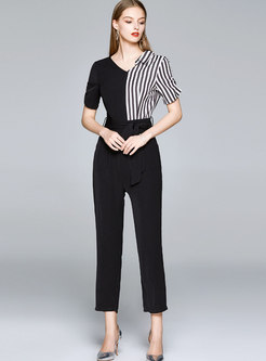 V-neck Striped Patchwork High Waisted Slim Jumpsuits