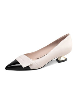 Color-blocked Low Heel Pointed Toe Pumps
