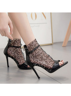 Rhinestone Openwork Thin Heel Sandals
