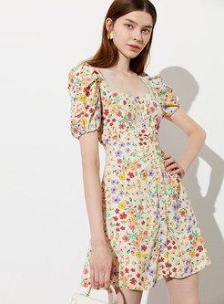 Square Neck Puff Sleeve Floral Mini Skater Dress