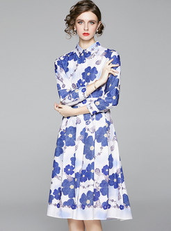 Lapel Long Sleeve Print High Waisted Skater Dress