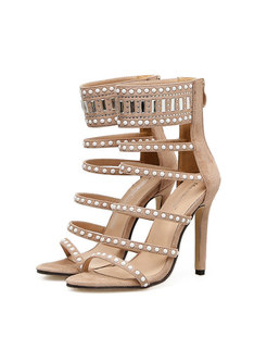 Rhinestone Flock Beaded High Heel Sandals