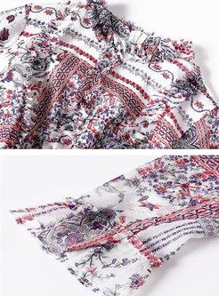Mock Neck Long Sleeve Floral Midi Chiffon Dress