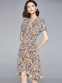V-neck Short Sleeve Floral Bodycon Peplum Dress