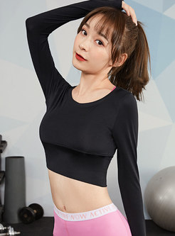 Long Sleeve Tight Backless Yoga Cropped Top