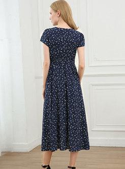 Blue V-neck Floral Big Hem Maxi Dress