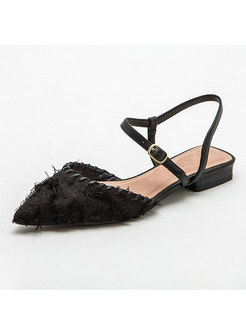 Pointed Toe Flock Fringed Flat Sandals