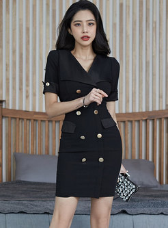 Black Notched Double-breasted Sheath Mini Dress