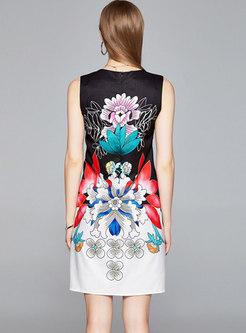 Crew Neck Sleeveless Print A Line Dress