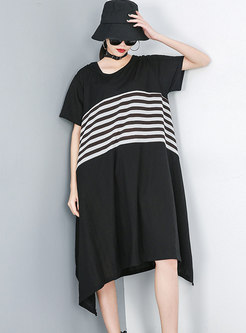 Crew Neck Striped Patchwork Shift T-shirt Dress