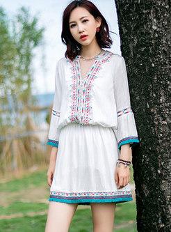 V-neck Long Sleeve Embroidered Mini Beach Dress