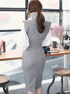 Mock Neck Sleeveless Work Bodycon Dress