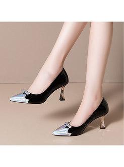 Color-blocked Pointed Toe Slow-cut Heels