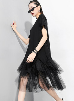 Solid Color Mesh Patchwork Loose T-shirt Dress