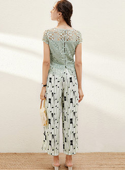 Lace Openwork Pullover Top & Print Palazzo Pants
