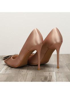 Pointed Toe Satin Metal Decoration Heels