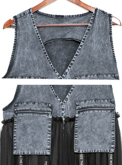 Notched Sleeveless Mesh Patchwork Vest With Ribbon