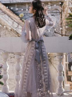 Lantern Sleeve Embroidered Mesh Maxi Dress