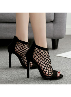Black Openwork Suede Thin Heel Sandals