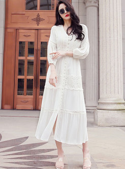 White V-neck Lantern Sleeve Beach Maxi Dress