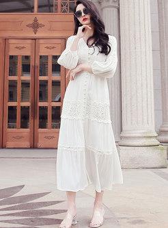 White V-neck Lantern Sleeve Beach Maxi Dress