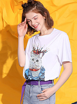 Crew Neck Cartoon Print Pullover T-shirt