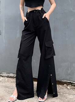 Black High Waisted Straight Slit Cargo Pants