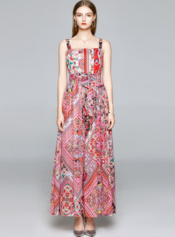 Bohemian Square Neck Print Beach Maxi Dress