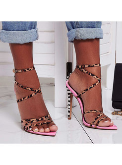 Pointed Toe Leopard Flock High Heel Sandals