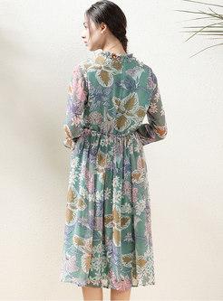 Mock Neck Long Sleeve Print Chiffon A Line Dress