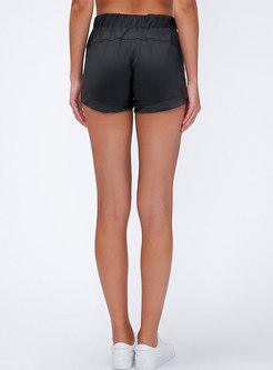 High Waisted Drawstring Sports Shorts With Pockets
