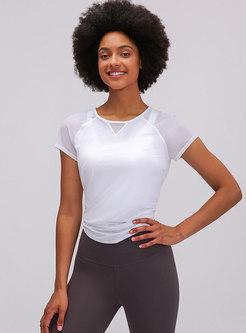 Crew Neck Pullover Mesh Sports Yoga T-shirt