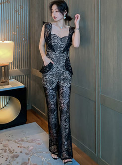 Square Neck Sleeveless Lace Slim Jumpsuits
