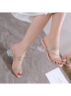 Rhinestone Transparent Chunky Heel Slippers